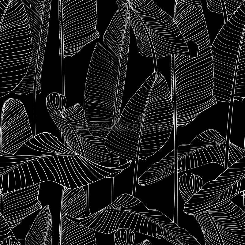美丽的棕榈树叶子剪影无缝的样式背景例证EPS10 库存例证