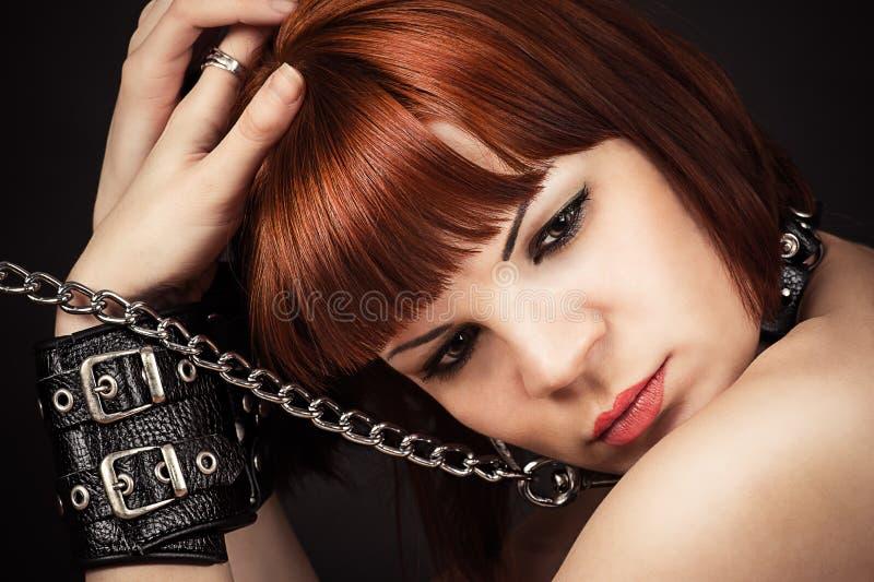 美丽的棕色毛发的妇女画象  库存照片