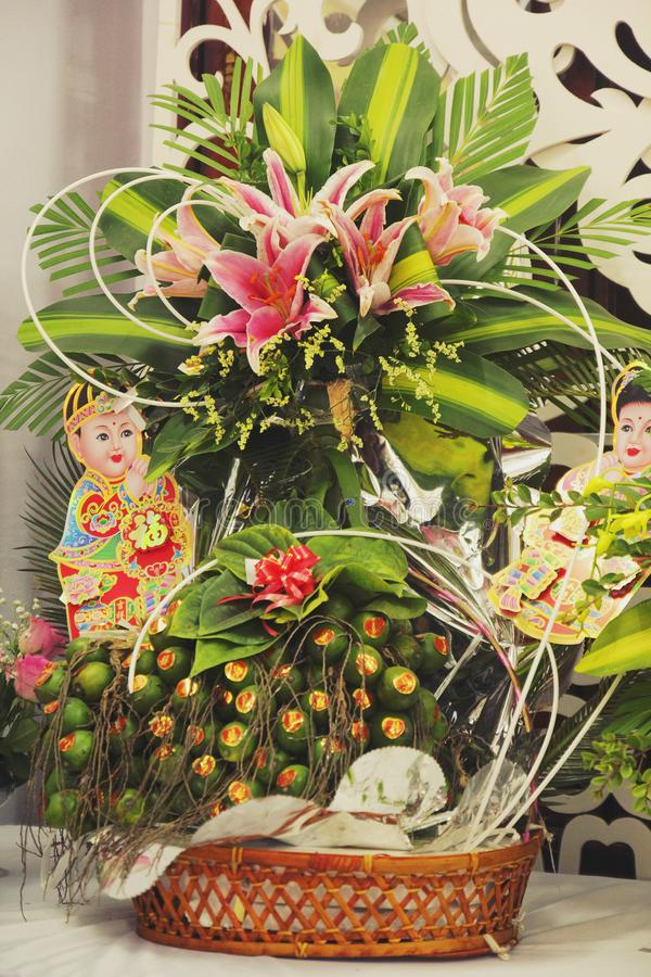 美丽的槟榔树果子在越南语的婚礼中 库存图片
