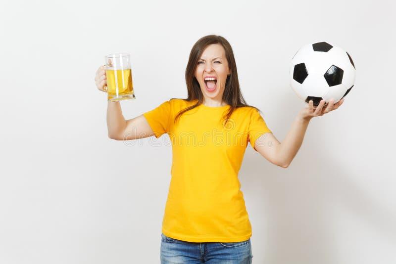 美丽的欧洲青年人、足球迷或者球员白色背景的 体育,戏剧,健康,健康生活方式概念 库存照片