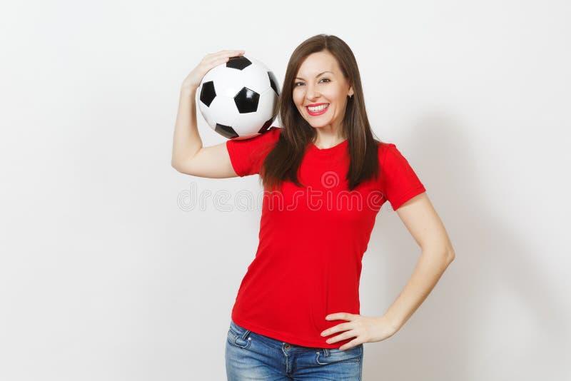 美丽的欧洲青年人、足球迷或者球员白色背景的 体育,戏剧,健康,健康生活方式概念 图库摄影