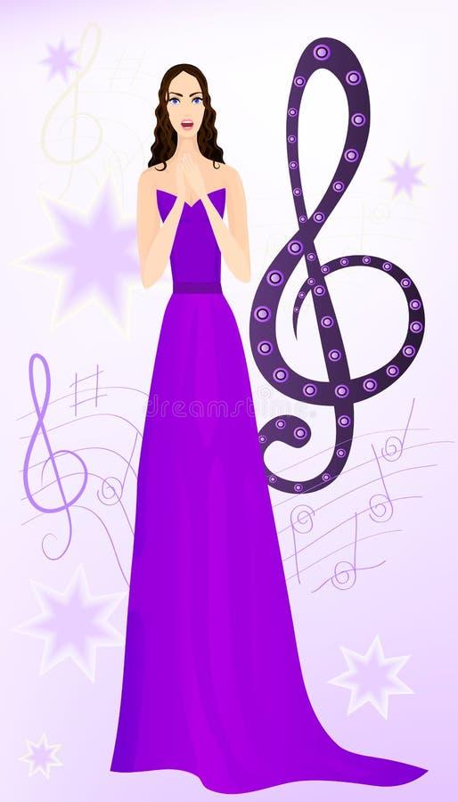 美丽的歌剧歌唱家 向量例证