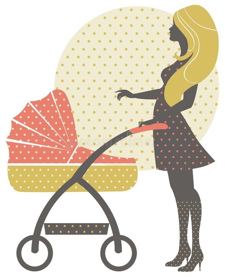 美丽的母亲剪影有婴儿车的 向量例证
