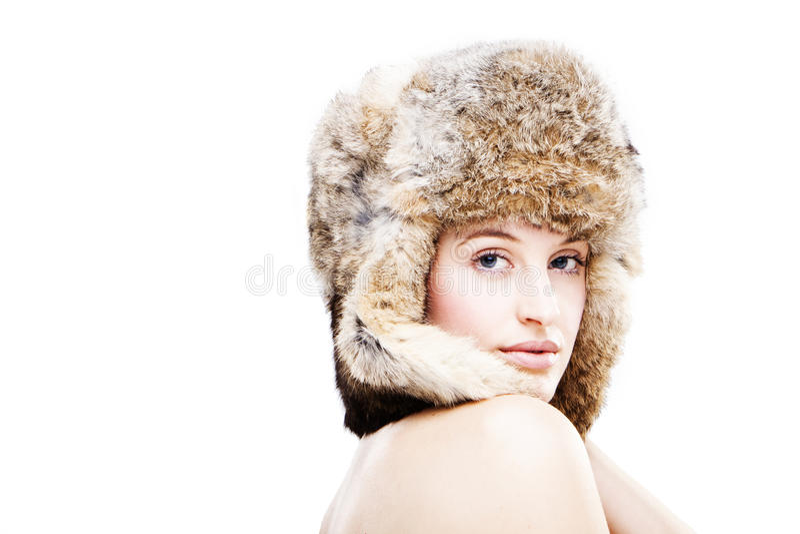 美丽的毛皮女孩帽子 图库摄影