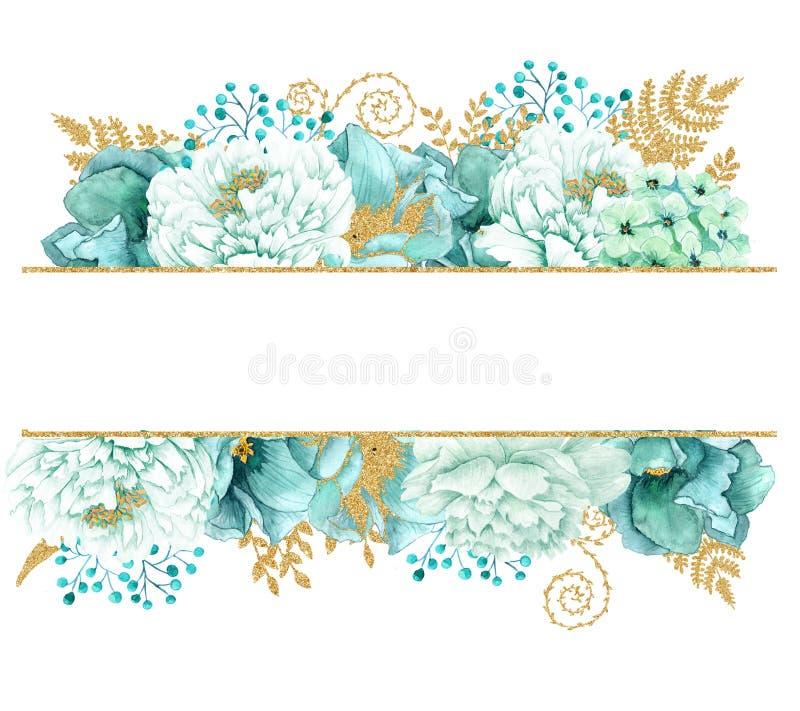 美丽的水彩薄菏开花框架 薄荷的金子婚礼邀请模板 库存例证