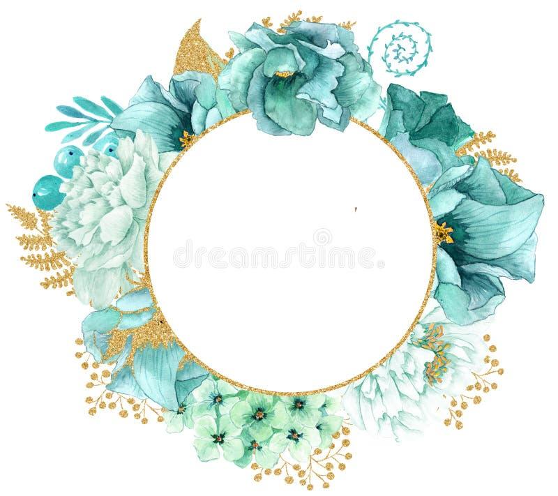 美丽的水彩薄菏开花框架 薄荷的金花框架! 皇族释放例证