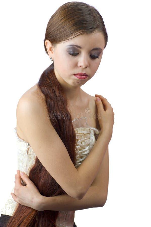 美丽的沉思妇女 库存图片