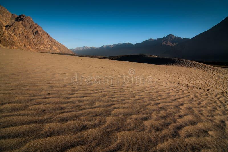 美丽的沙丘和层数山在Nubra谷 免版税库存照片