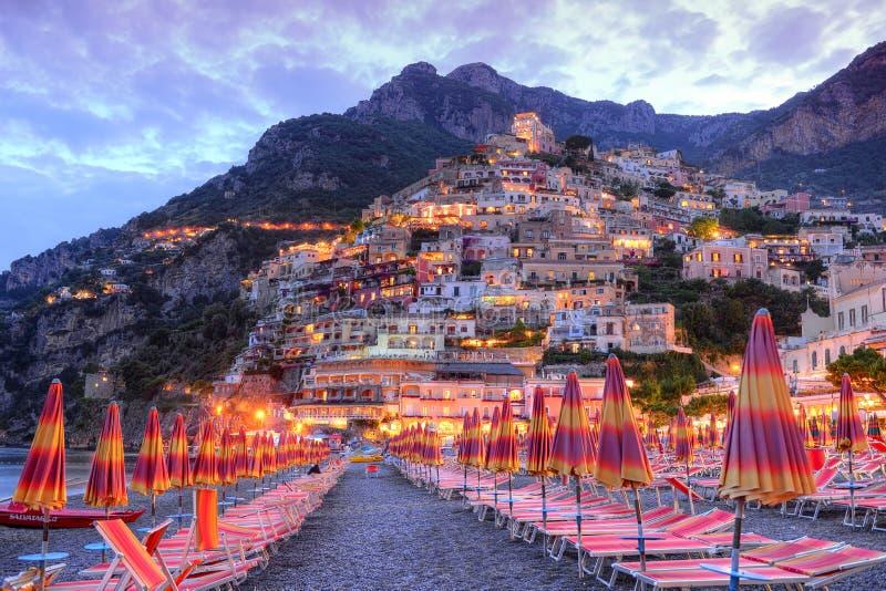 美丽的波西塔诺,阿马飞海岸,意大利 免版税库存照片