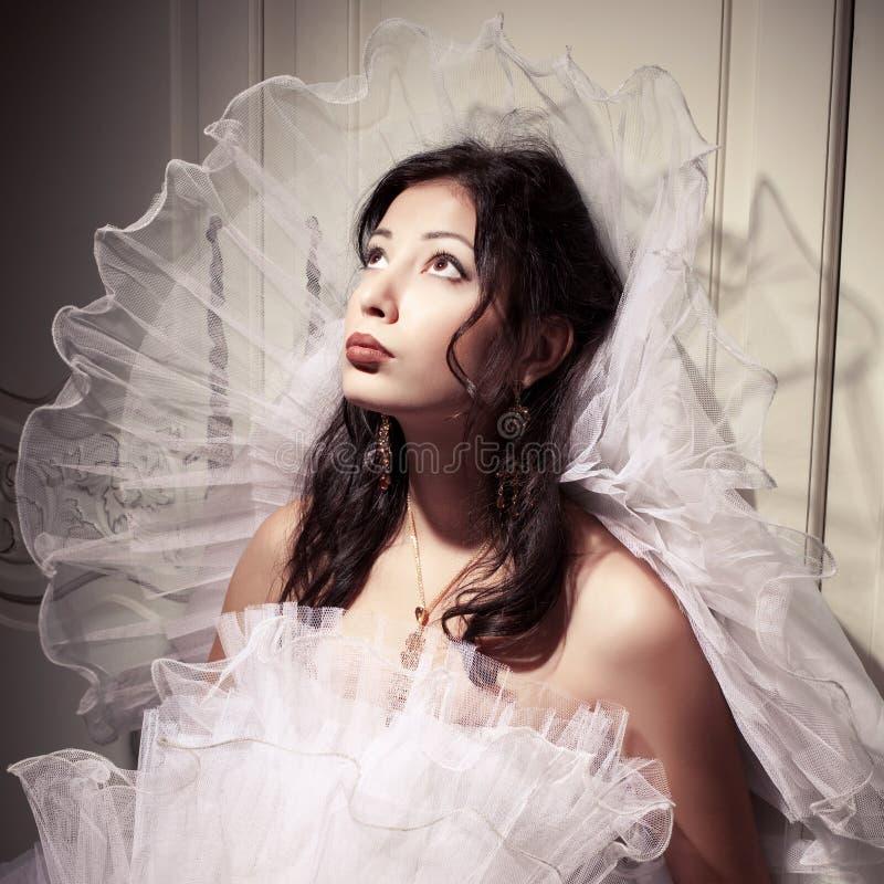 美丽的浅黑肤色的男人葡萄酒丙氨酸法国公主新娘画象  库存照片
