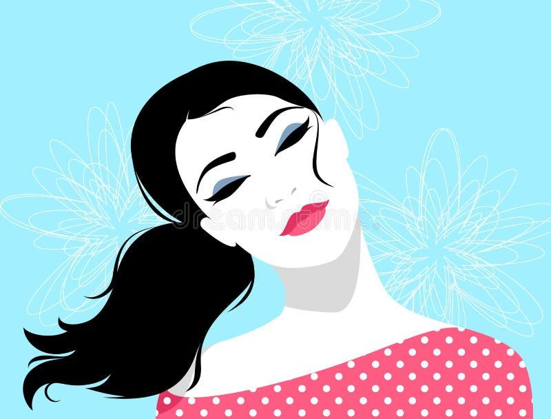 美丽的浪漫作白日梦的妇女 皇族释放例证
