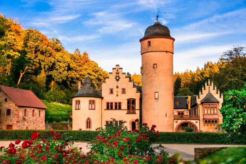 美丽的浪漫城堡梅斯佩尔布伦在德国 免版税库存照片