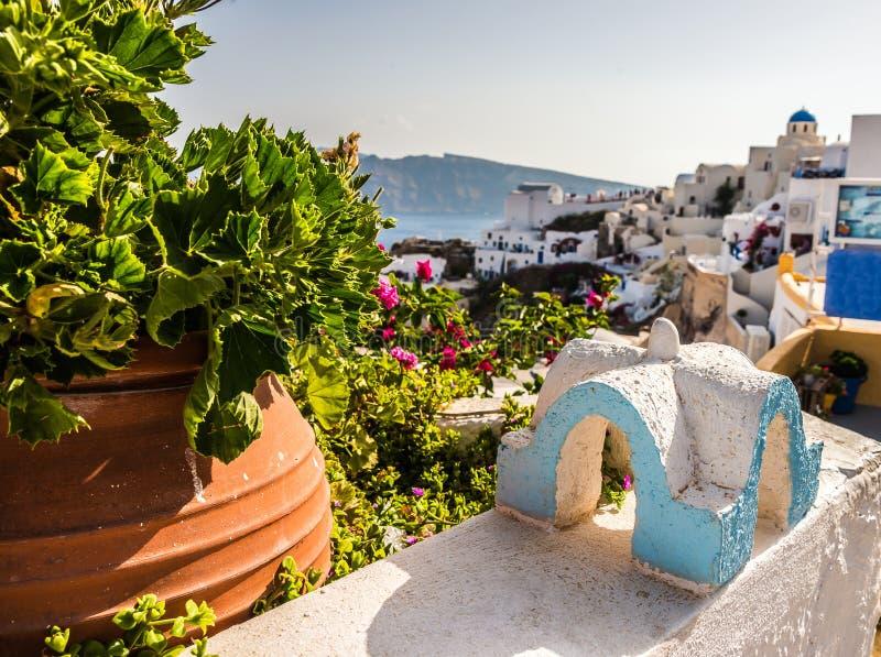 美丽的海岛圣托里尼 库存照片