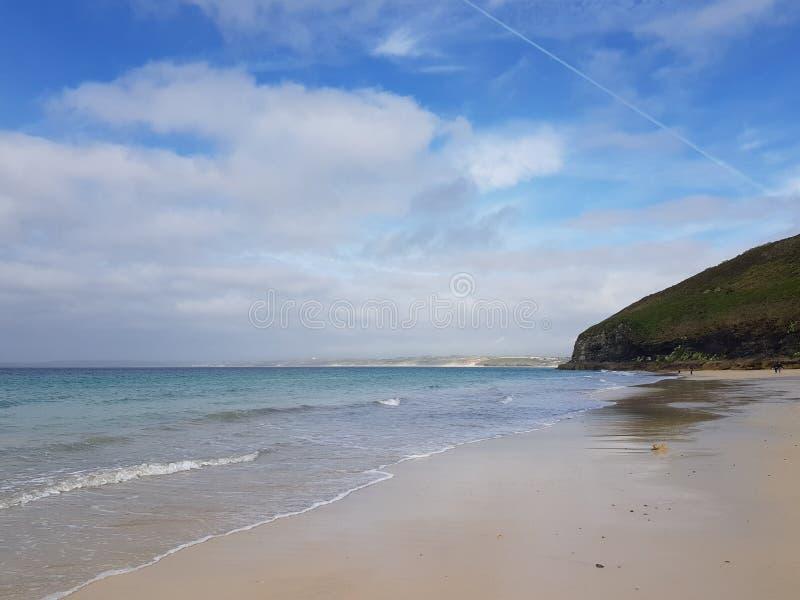 美丽的海滩在圣Ives在康沃尔郡,英国 免版税图库摄影