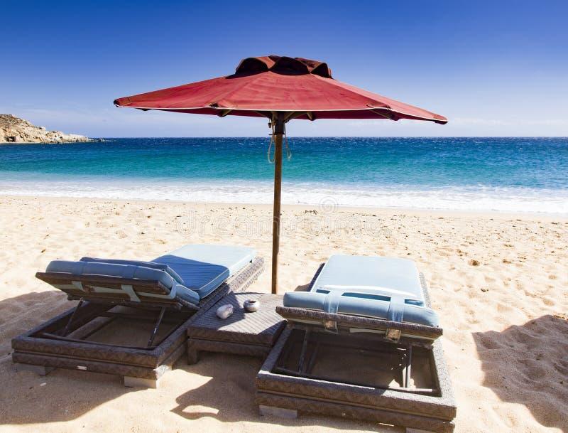 美丽的海滩米科诺斯岛希腊 库存图片