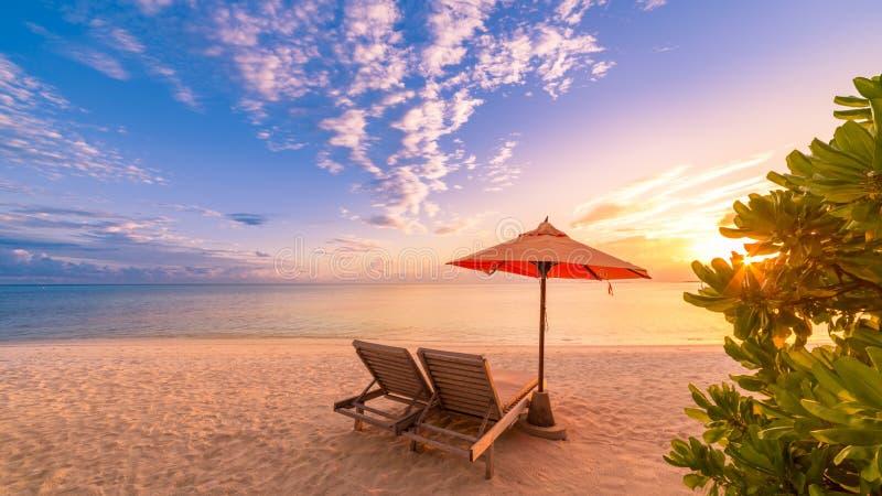 美丽的海滩 在沙滩的椅子在海附近 暑假和假期概念 激动人心的热带背景 免版税库存照片