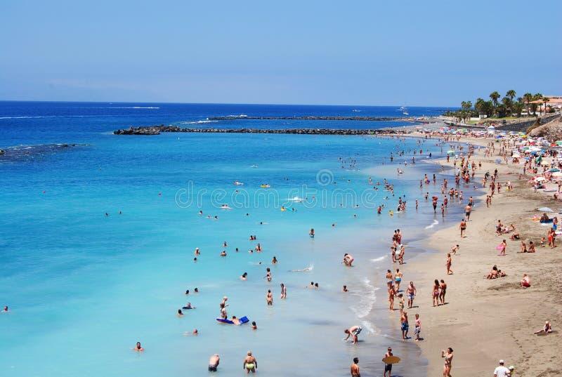 美丽的海滩在特内里费岛 库存图片