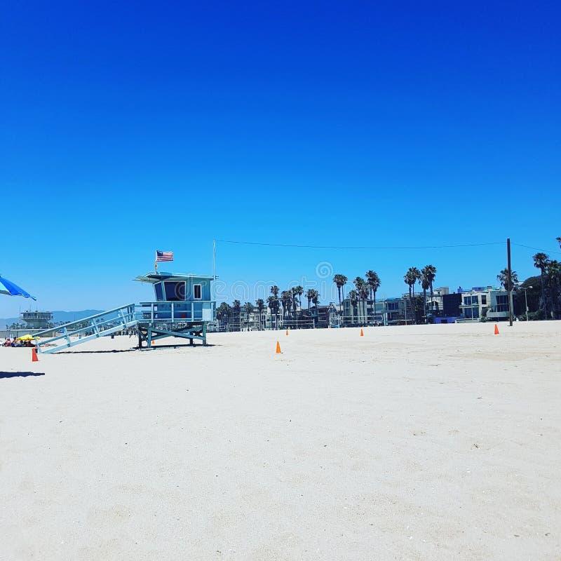 美丽的海滩在L A 免版税库存照片