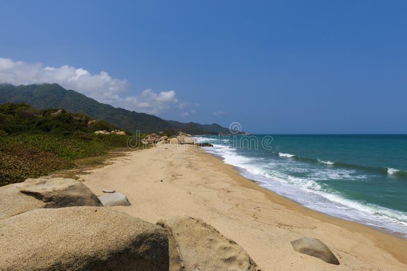 美丽的海滩在Tayrona国家公园Parque在哥伦比亚的加勒比海岸的Nacional Tayrona 库存图片