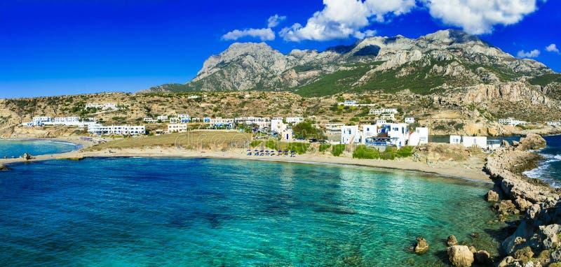 美丽的海滩希腊海岛- Lefkos 免版税库存照片
