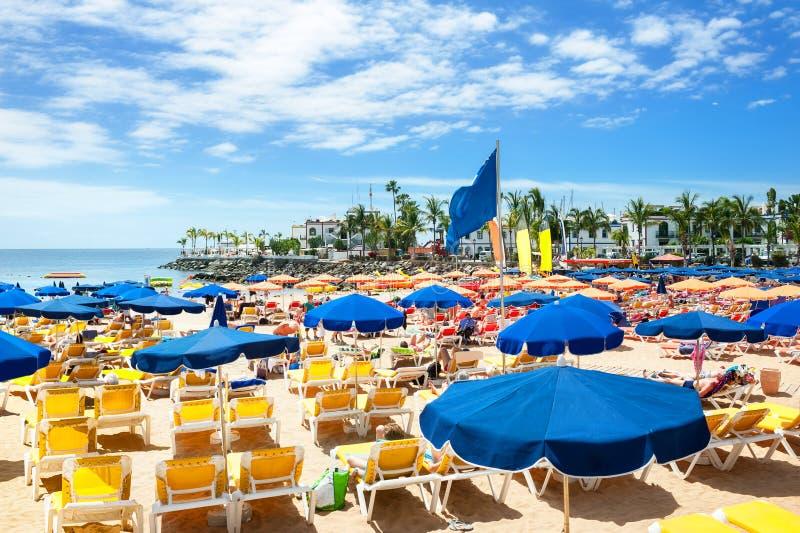 美丽的海滩Puerto de Mogan,大加那利岛 免版税库存照片