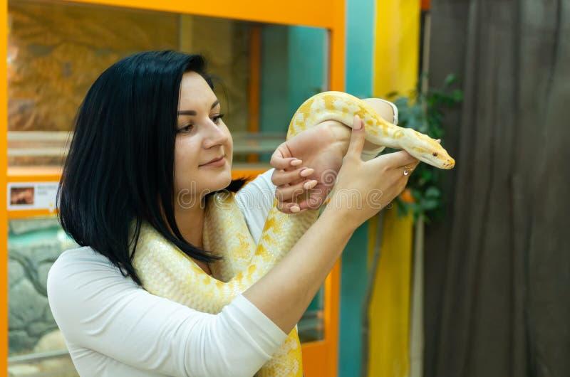 美丽的深色的女孩在她的手上的拿着一个Python 库存图片