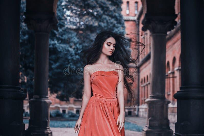 美丽的深色的女孩,有非常长的头发的,在桔子,葡萄酒礼服 库存图片