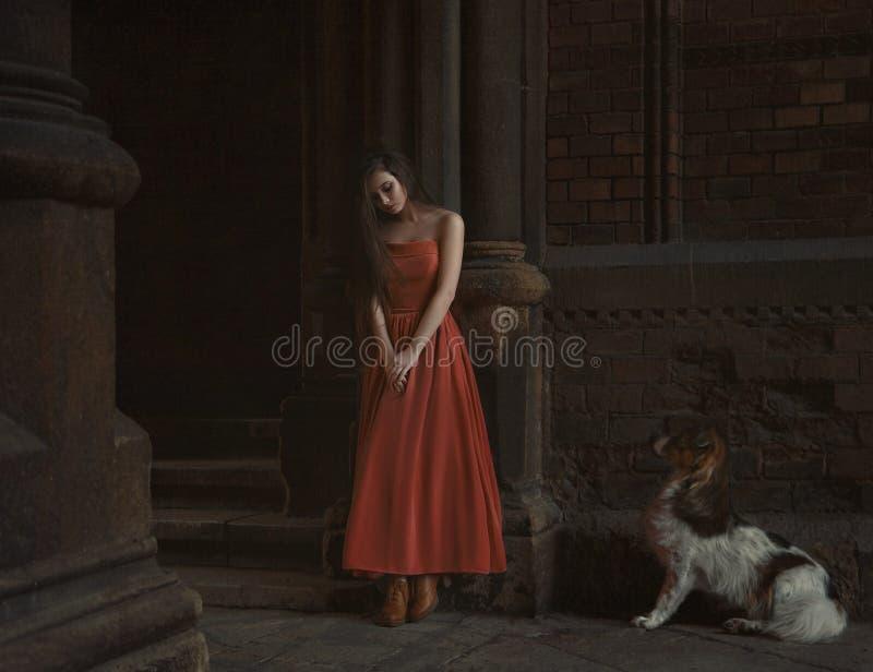 美丽的深色的女孩,有非常长的头发的,在桔子,葡萄酒礼服 免版税图库摄影