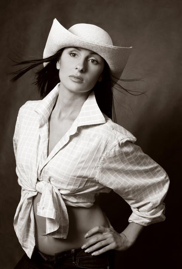 美丽的深色的帽子 库存照片