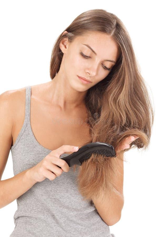 美丽的深色的梳的头发夫人长期年轻&# 库存图片
