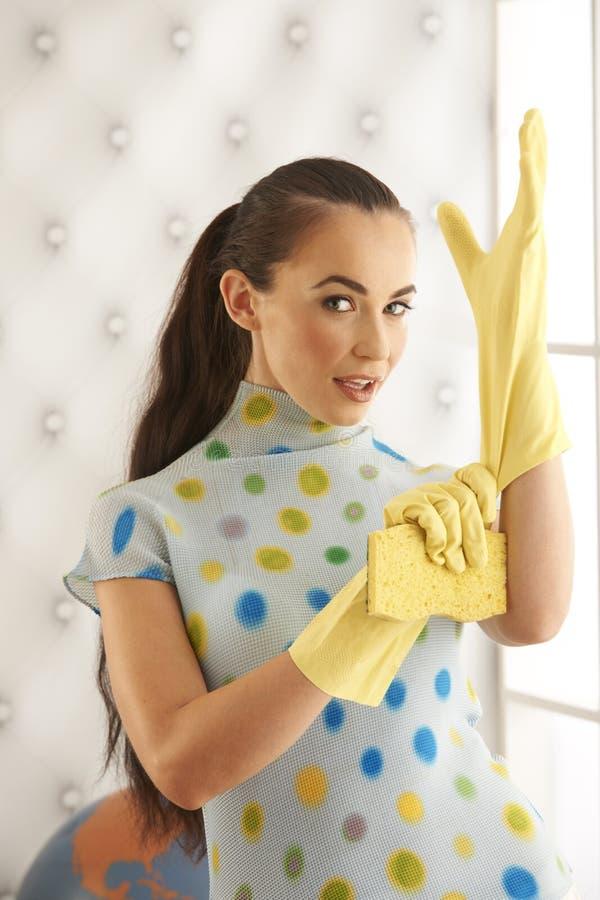美丽的深色的清洁手套 库存图片