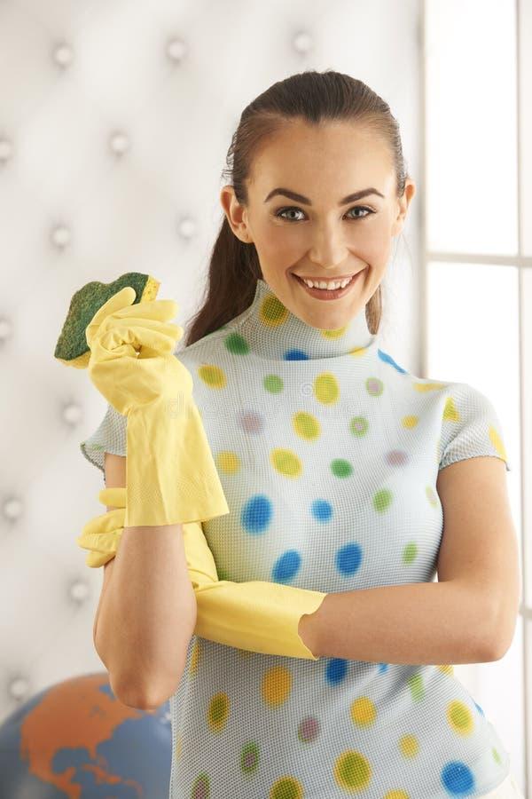 美丽的深色的清洁手套 免版税库存图片