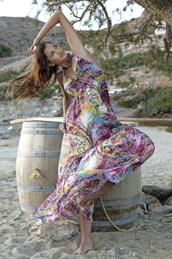 美丽的深色的礼服浪漫夏天妇女 免版税图库摄影