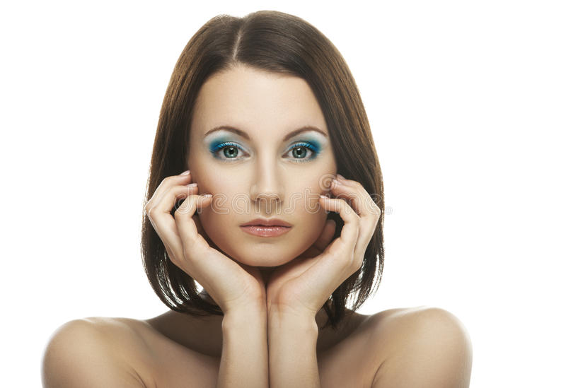 年轻美丽的深色头发的妇女画象  库存照片