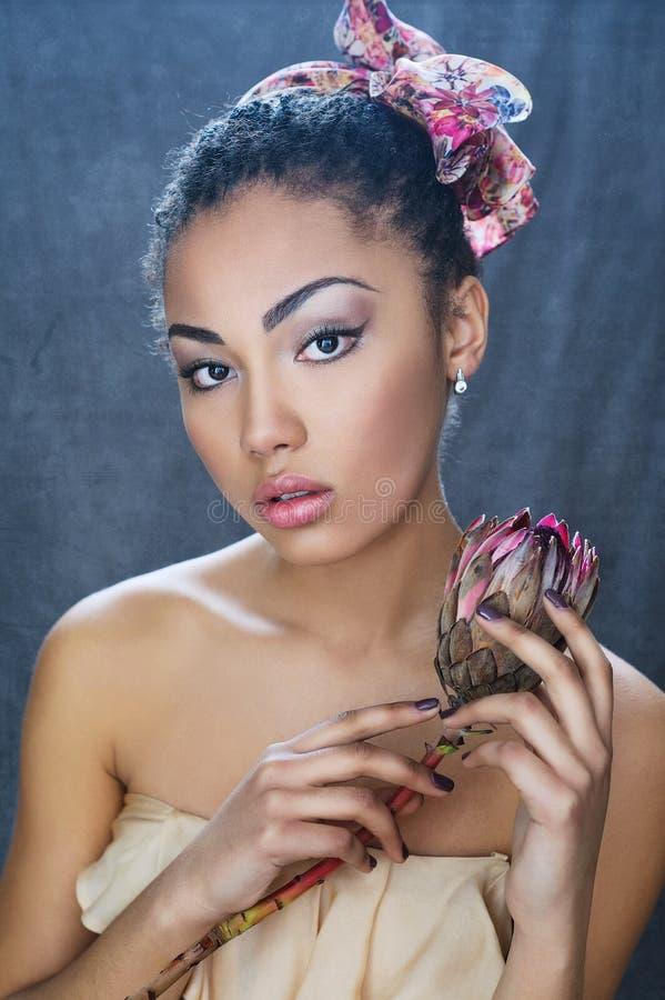 美丽的混合的族种女孩画象 库存照片