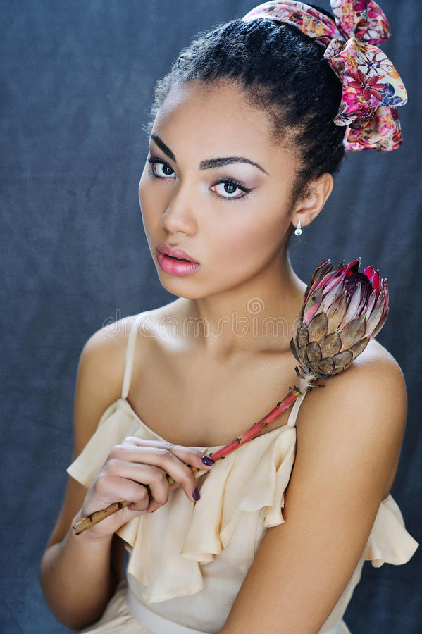 美丽的混合的族种女孩画象 免版税库存照片