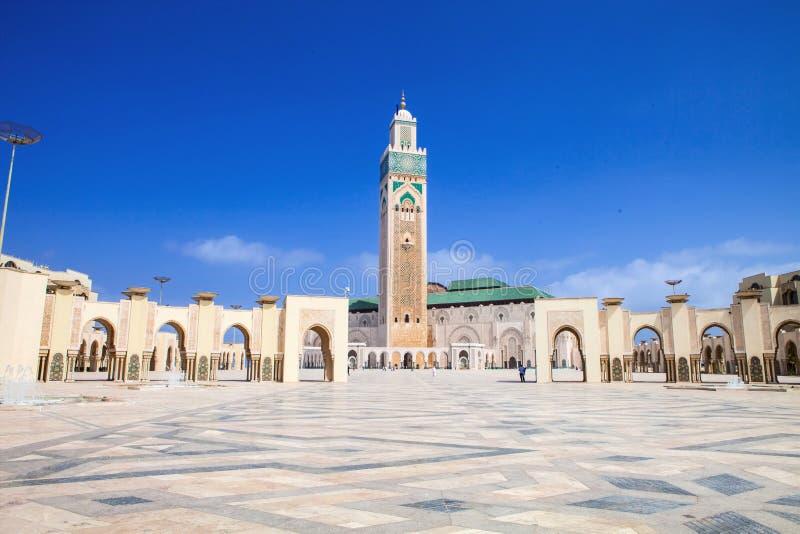 美丽的清真寺其次哈桑,卡萨布兰卡,摩洛哥 免版税库存照片