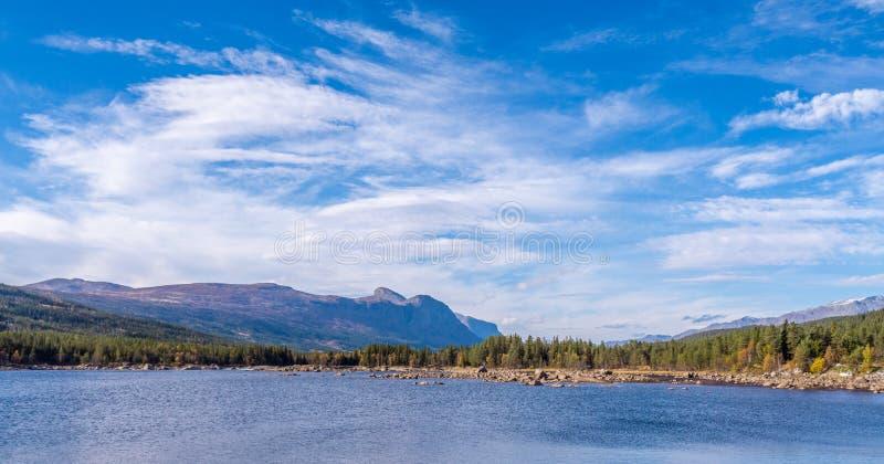 美丽的湖在挪威在夏天 免版税库存照片