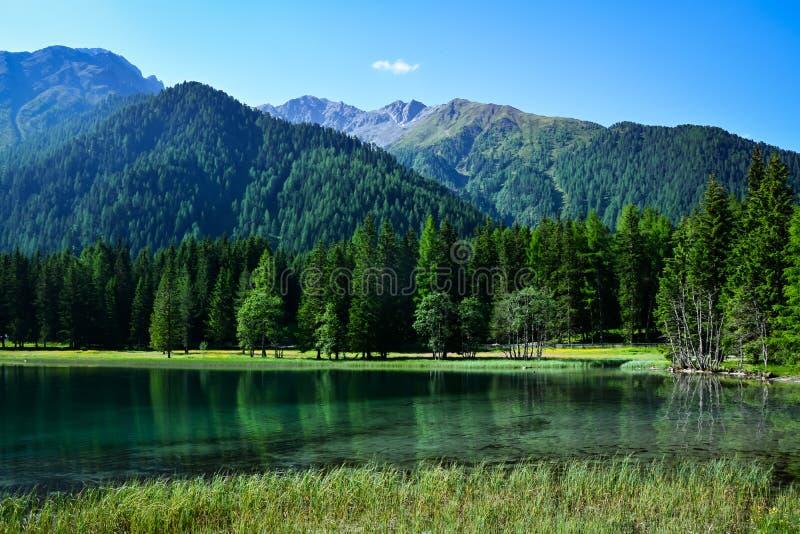 美丽的湖Lago在意大利dolimites的di Anterselva 库存图片