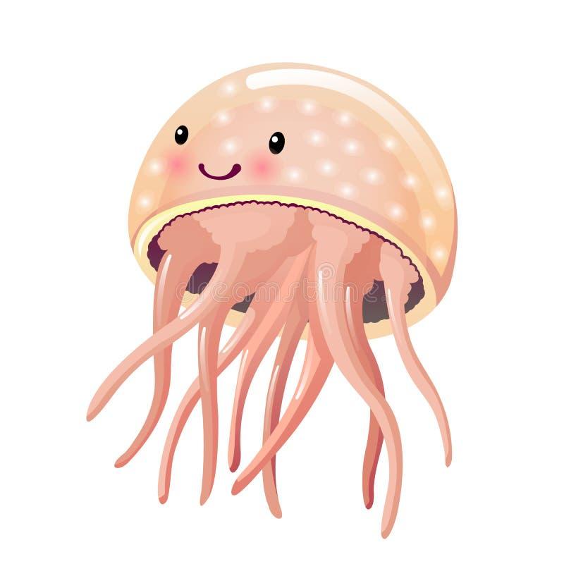 美丽的滑稽的动画片水母,与触手 五颜六色的意志薄弱的人 向量例证