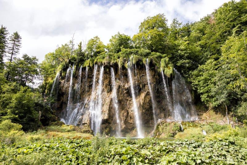 美丽的瀑布在普利特维采湖群国家公园在夏天 免版税库存图片