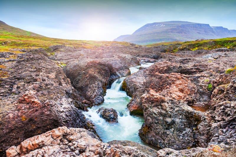 美丽的瀑布在西格陵兰 免版税图库摄影