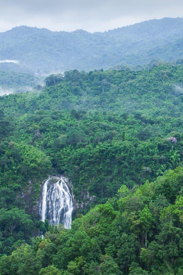 美丽的瀑布风景顶视图在热带森林,新鲜的薄雾,与绿色山的野花里在下雨天 Khlong Lan 免版税库存照片