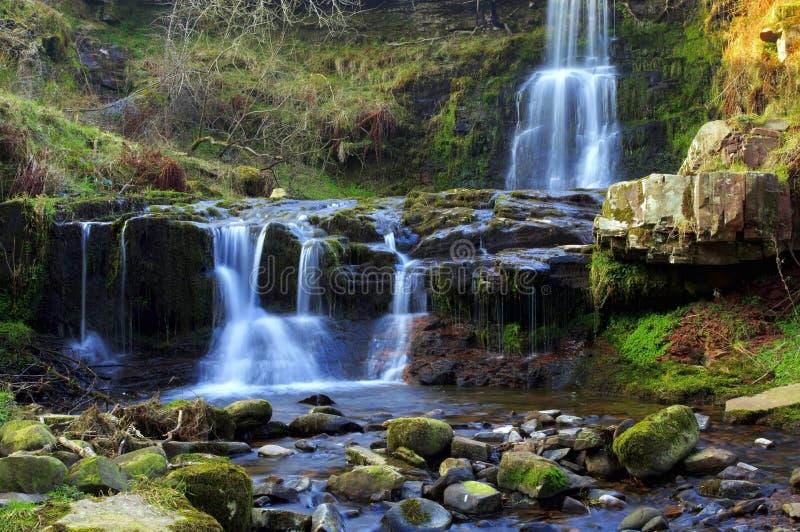 美丽的瀑布, Nant Bwrefwy,上部Blaen-y-Glyn 免版税库存照片