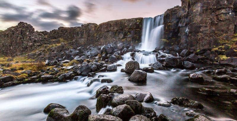 美丽的瀑布Oxarafoss在南冰岛 图库摄影