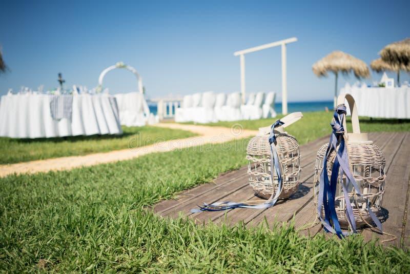 美丽的灯笼,婚姻的装饰 从希腊的惊人的婚礼股票摄影! 库存图片