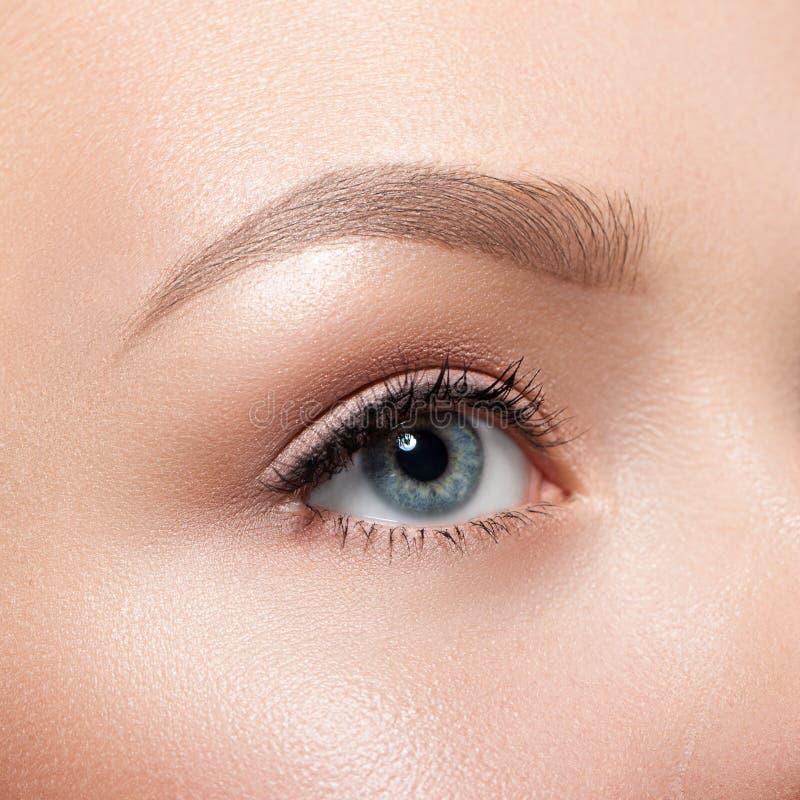 美丽的灰色女性眼睛特写镜头 免版税库存照片