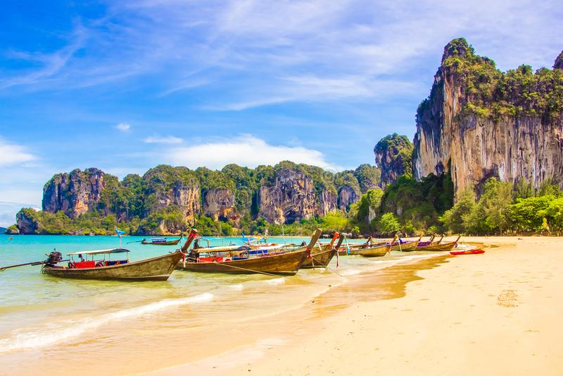 美丽的热带天堂Railay海滩在Krabi泰国 库存照片