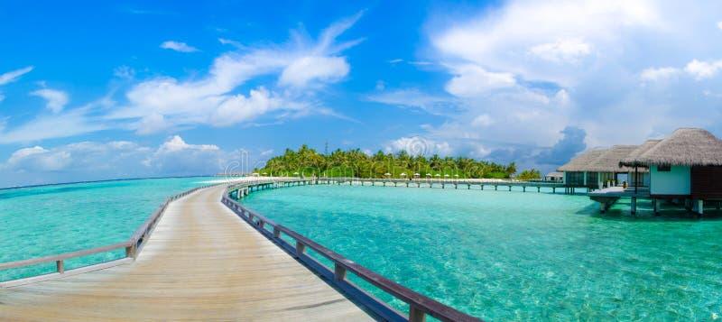 美丽的热带海滩有bungalos在马尔代夫的全景视图 免版税库存图片