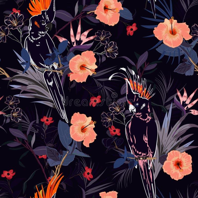 美丽的热带花卉图案 概述在jung的鹦鹉鸟 库存例证